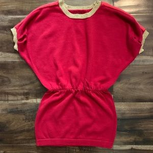 Tea collection red and gold sweater dress